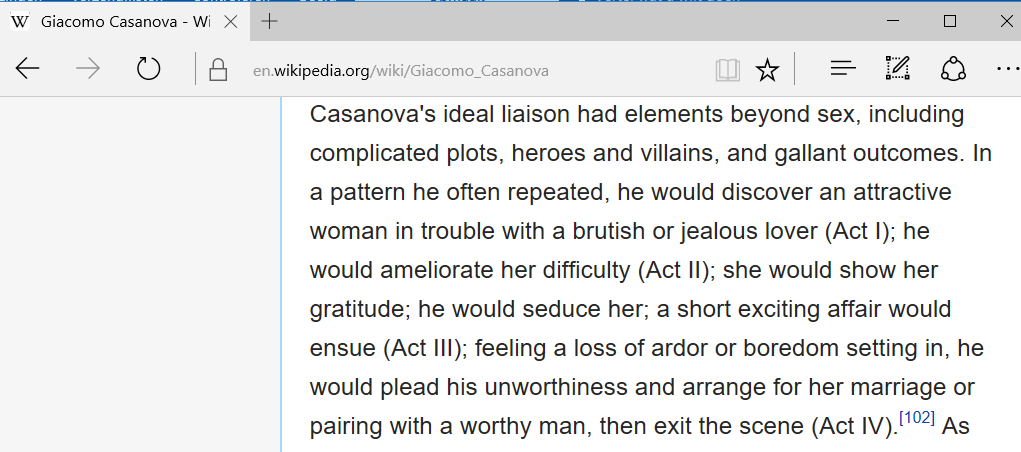 Source: Wikipedia Casanova had as focused, repetitive system.